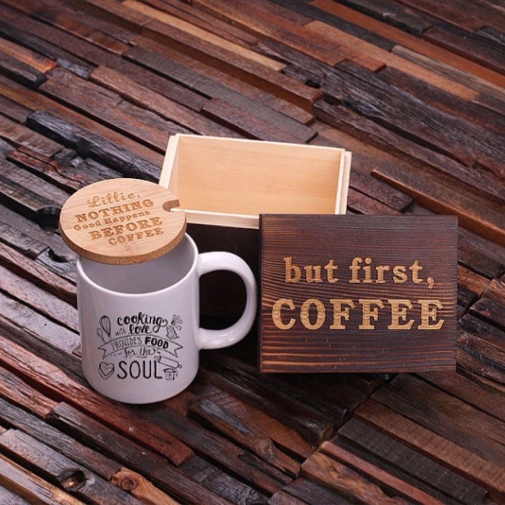 Personalized Gift 12 oz. Coffee Mug with Lid and Tea Box