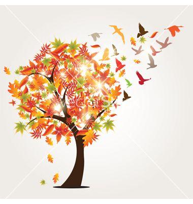 Autumn tree and birds vector - by HypnoCreative on VectorStock®