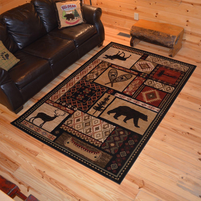 Rustic Lodge Bear Moose Deer Cabin Multi Black Area Rug 5 3 X 7 3