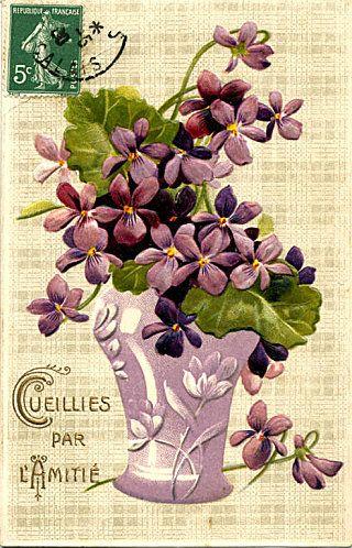 Cartes Anciennes Gaufrees Avec Des Violettes Fleurs Anciennes