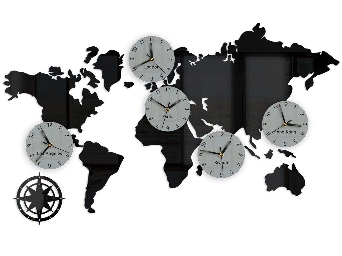 wall clock with 5 time zones  los angeles london paris