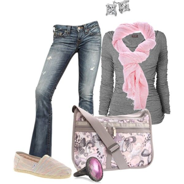 """Grey and Pink"" by jannaerikson on Polyvore"