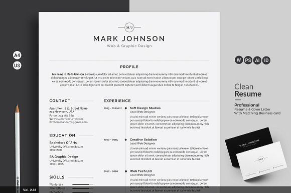 Resume\/CV by ThemeDevisers on @creativemarket Beautiful Resume - clean resume design