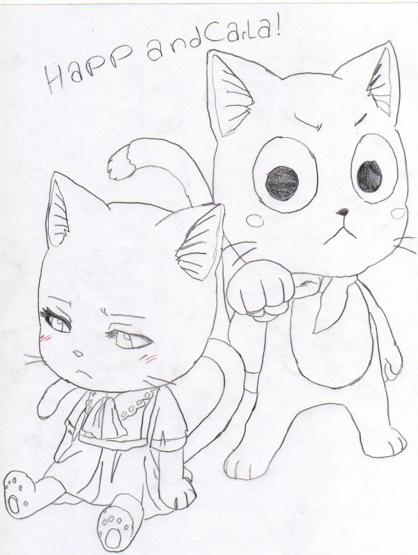 Fairy tail happy y carla coloring pages carla - Dessin anime de fairy tail ...