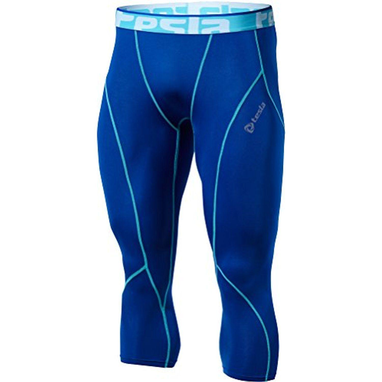 Tesla Men's Compression 3/4 Capri Shorts Baselayer Cool ...