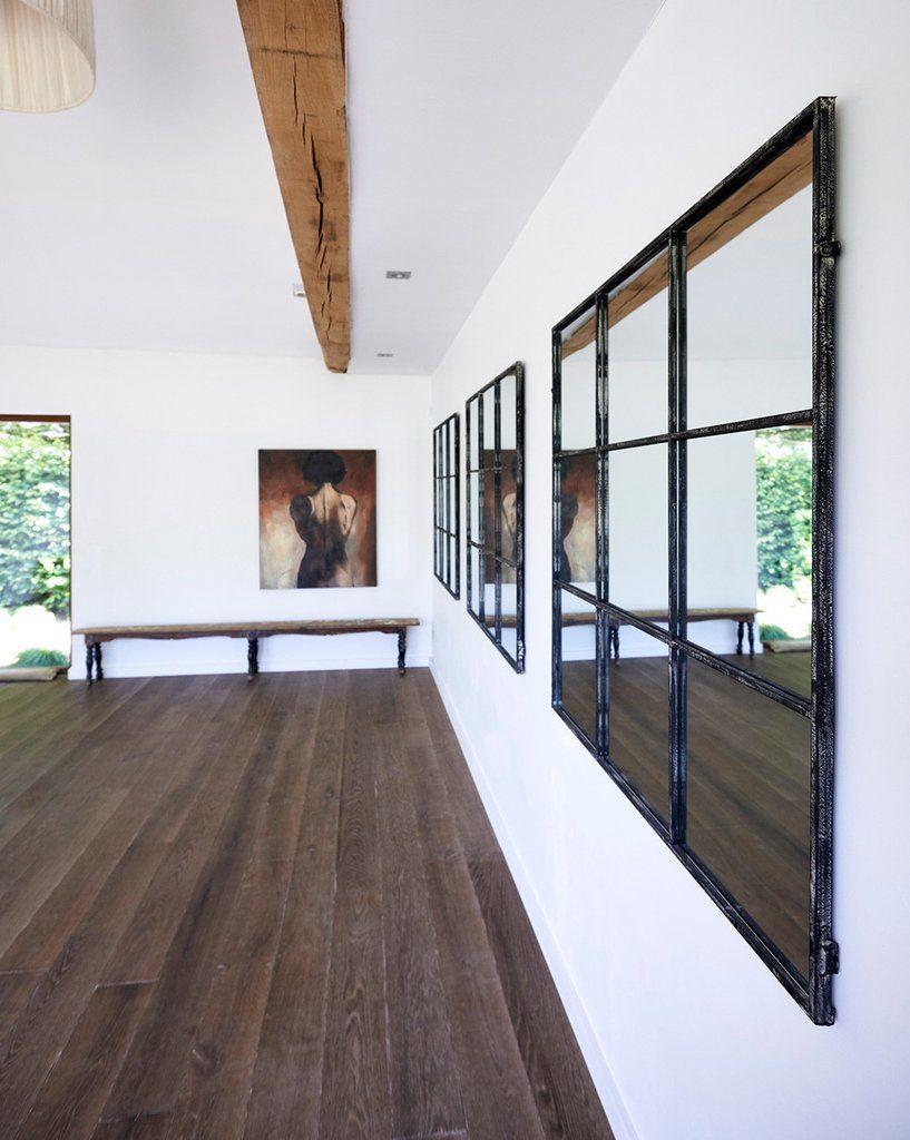 Window Frame Mirror (Distressed Black Metal Frame, 9 Panes, W:118cm ...