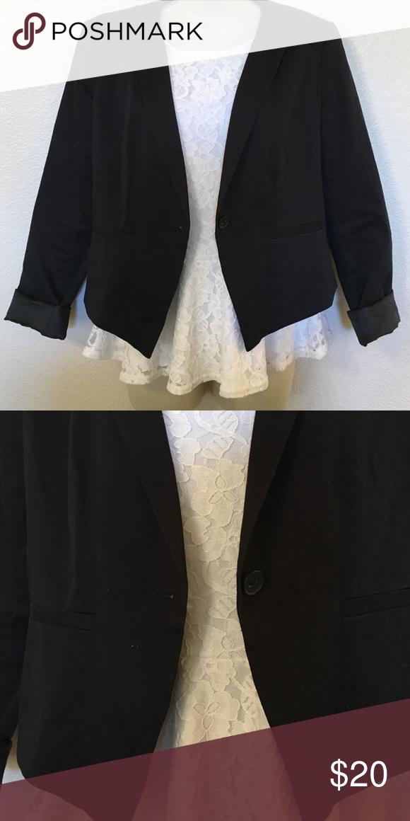 Black Blazer No collar, light weight blazer with button on the front. Halogen Jackets & Coats Blazers