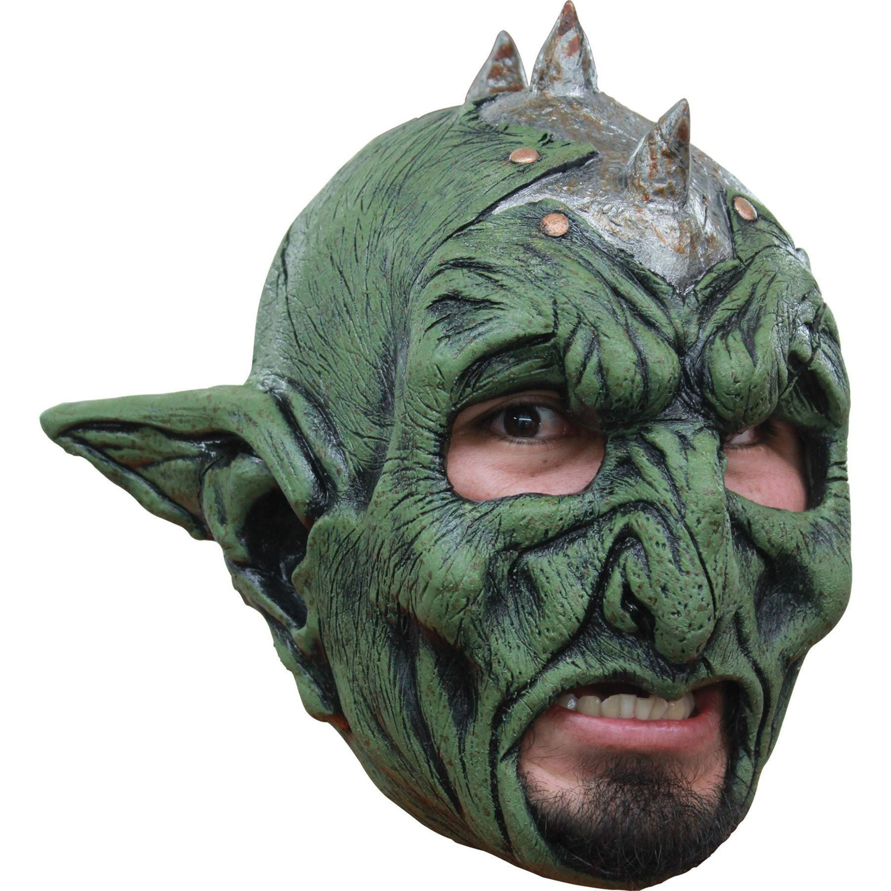 Full over the head latex mask with space for wearer's chin ...