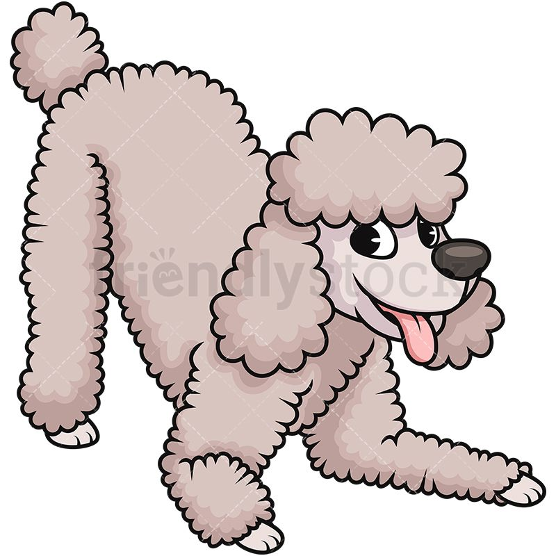 Cheerful Cream Poodle Dog Cartoon Dog Poodle Clip Art