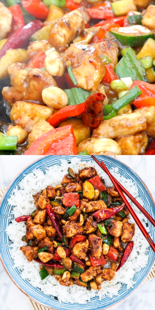 This Kung Pao Chicken is a delicious stir-fry loaded with chunky veggies and chicken and coated in a homemade tasty sauce. Ready in 30 minutes and way better than take-out! #kungpao #chicken