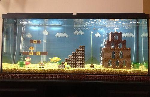 Unique Aquariums 8 Mario Team Fish Tank Lego Super Mario Aquarium Decorations