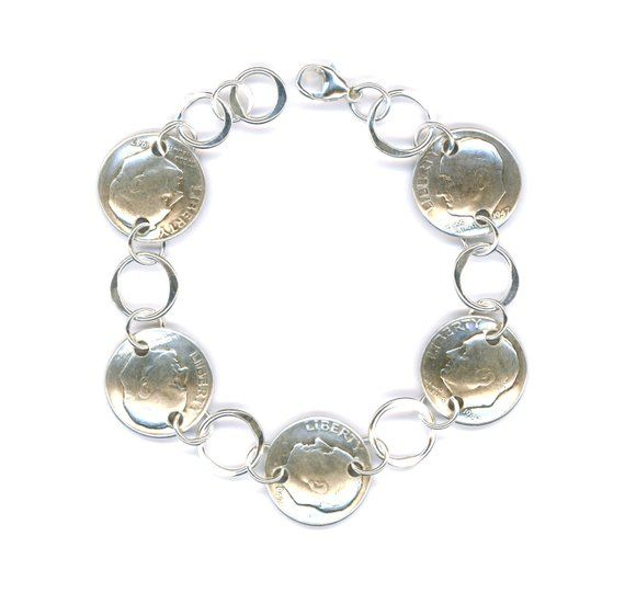 d496943084121 70th Birthday Gift Jewelry Women 1948 Dime Coin Silver Bracelet 70th ...