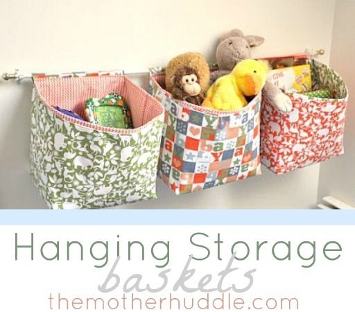 Hanging Storage Baskets Tutorial by The Mother Huddle... I won't be sewing these exactly, but I'll modify existing baskets & use a cafe rod to hang them... perfect for behind the door, I'm thinking.