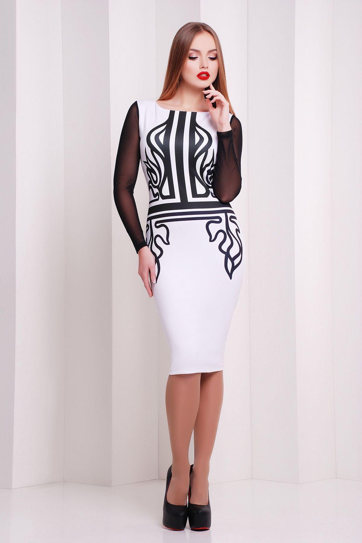 cc6c5b6d0d3 Белое изящное платье с черными рукавами сетка Греция платье Лоя-2КС д р.  Цвет  принт