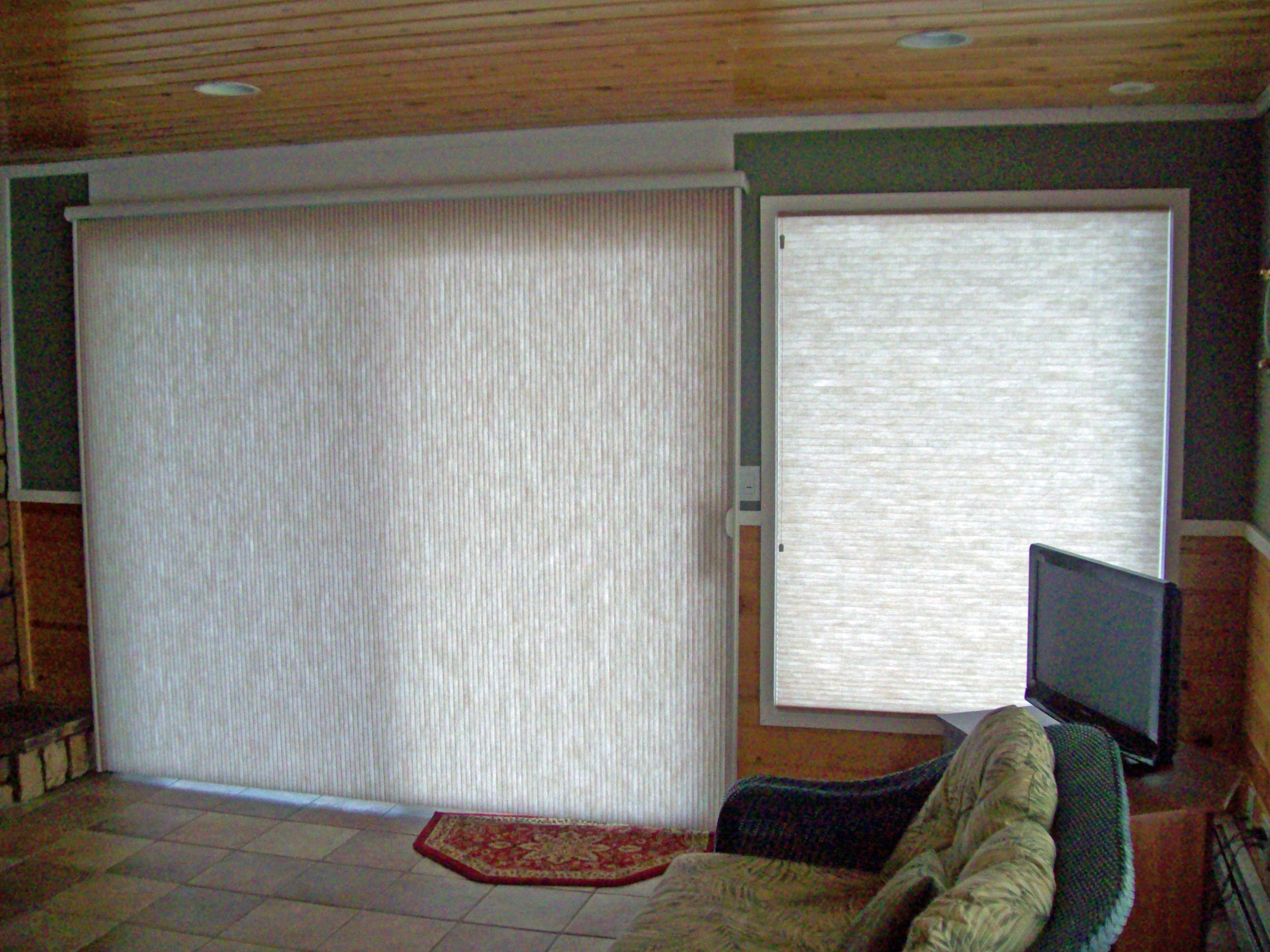 Vertical Cellular On A Sliding Glass Door With A Matching Cellular