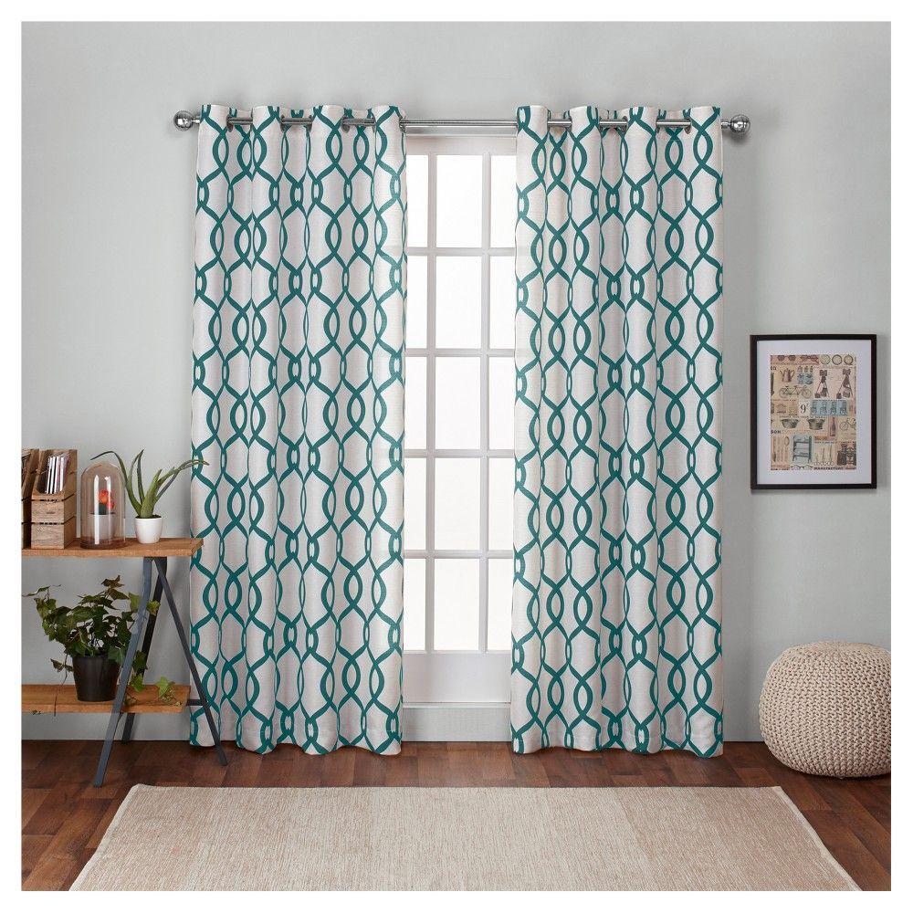 "Kochi Linen Blend Grommet Top Window Curtain Panel Teal (Blue) (54""x108"") - Exclusive Home"