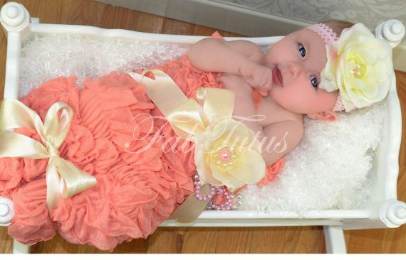 Light coral (apricot) ruffled cocoon and headband set - perfect newborn girl photo prop, your choice of colors