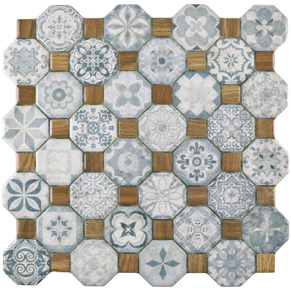 Merola Tile Tessera Blue 12 1 4 In X 12 1 4 In Ceramic Floor And Wall Tile 14 11 Sq Ft Case Fostesbl The Home Depot Ceramic Floor Ceramic Mosaic Tile Wall Tiles