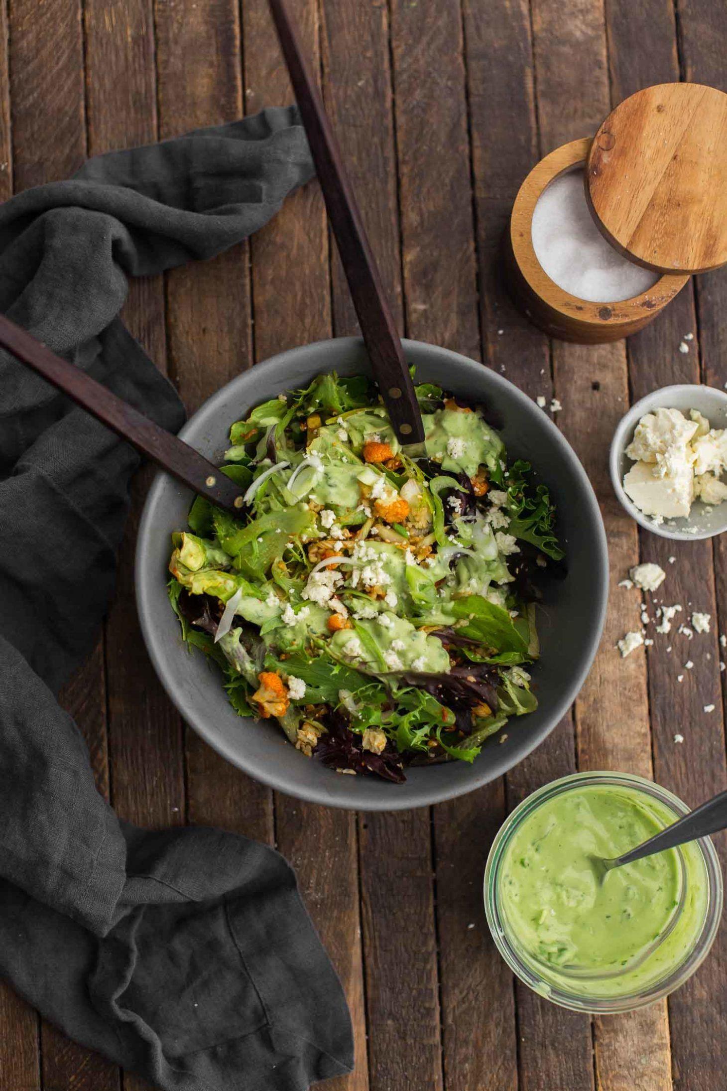 Harissa Roasted Cauliflower Salad with Freekeh and Lemon-Avocado Dressing featuring @ca_avocados | Naturally Ella