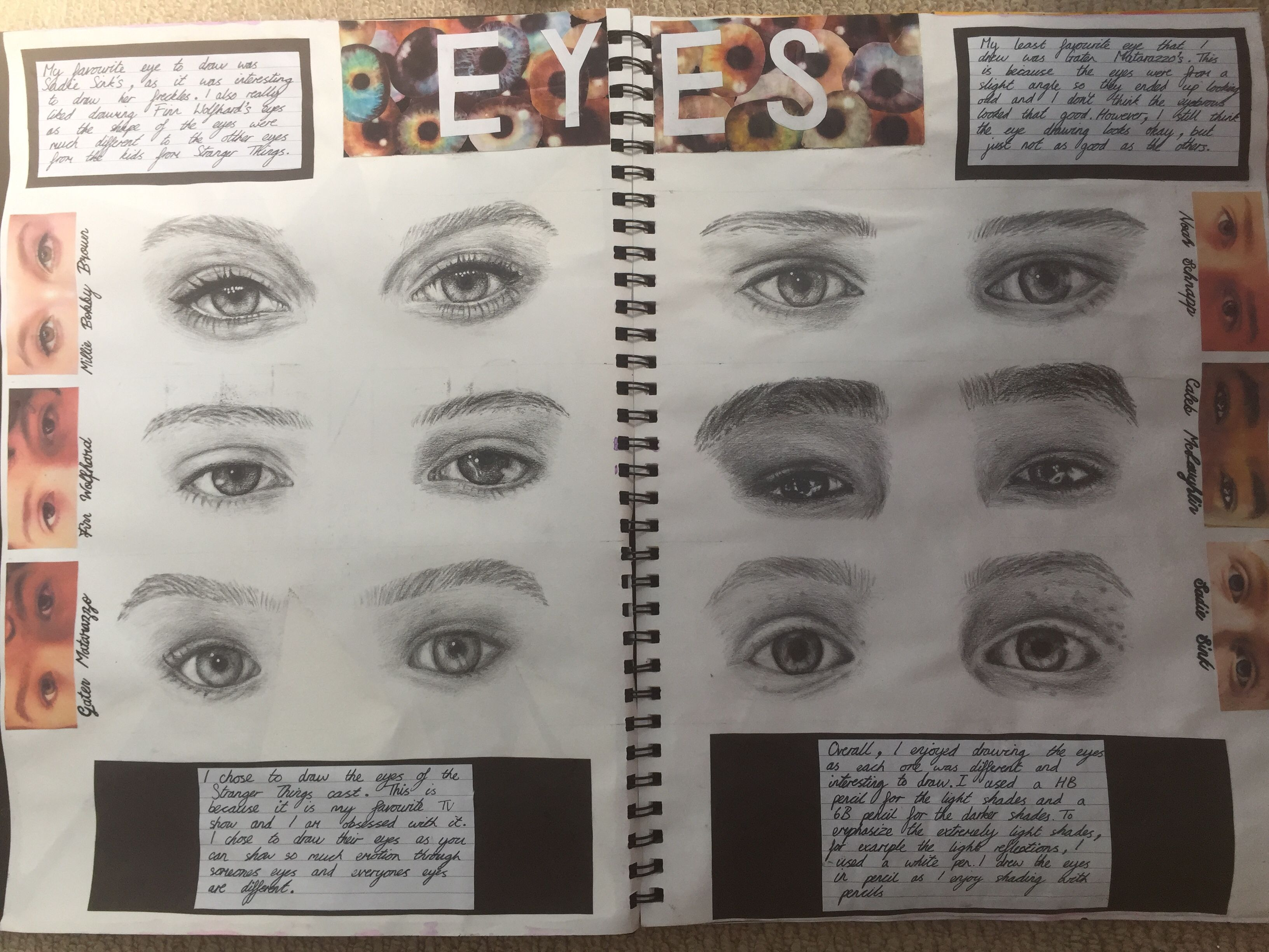 Eye Study Page Of The Stranger Things Cast For Gcse