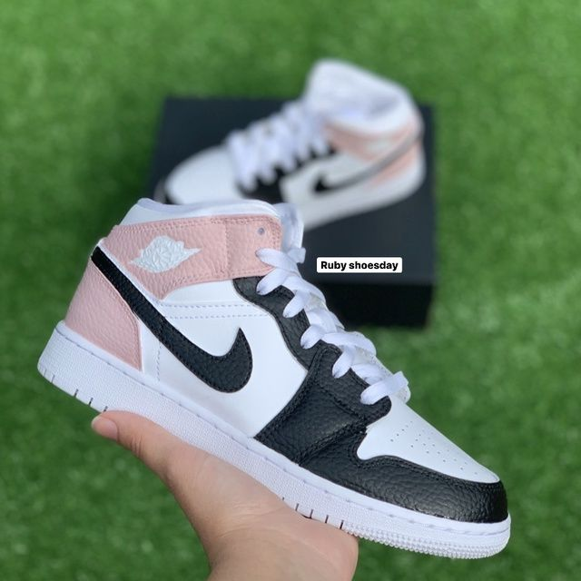 Pink and Black Nike Air Jordan 1 Mid - JUNIOR/YOUTH SIZES ONLY by ...