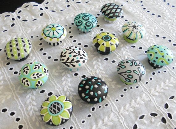 Hand Painted Gray Teal Black Dresser Knobs Painted Drawer Pulls Ea On Etsy