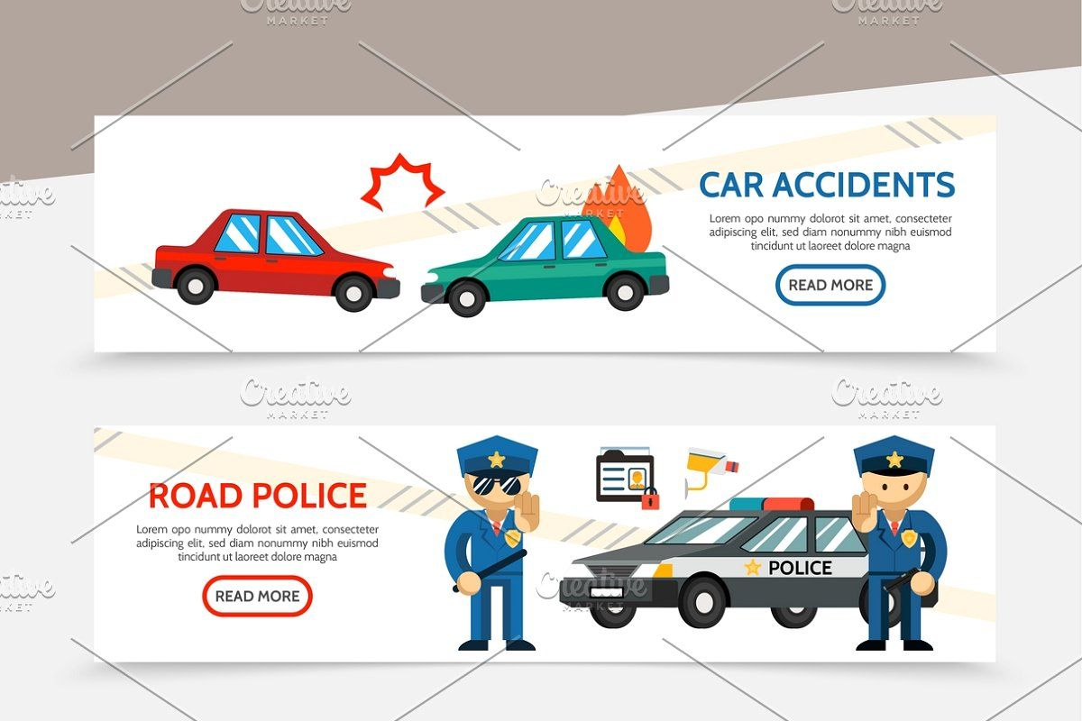 Flat Auto Accident Vertical Banners Accident Car Accident Car Crash