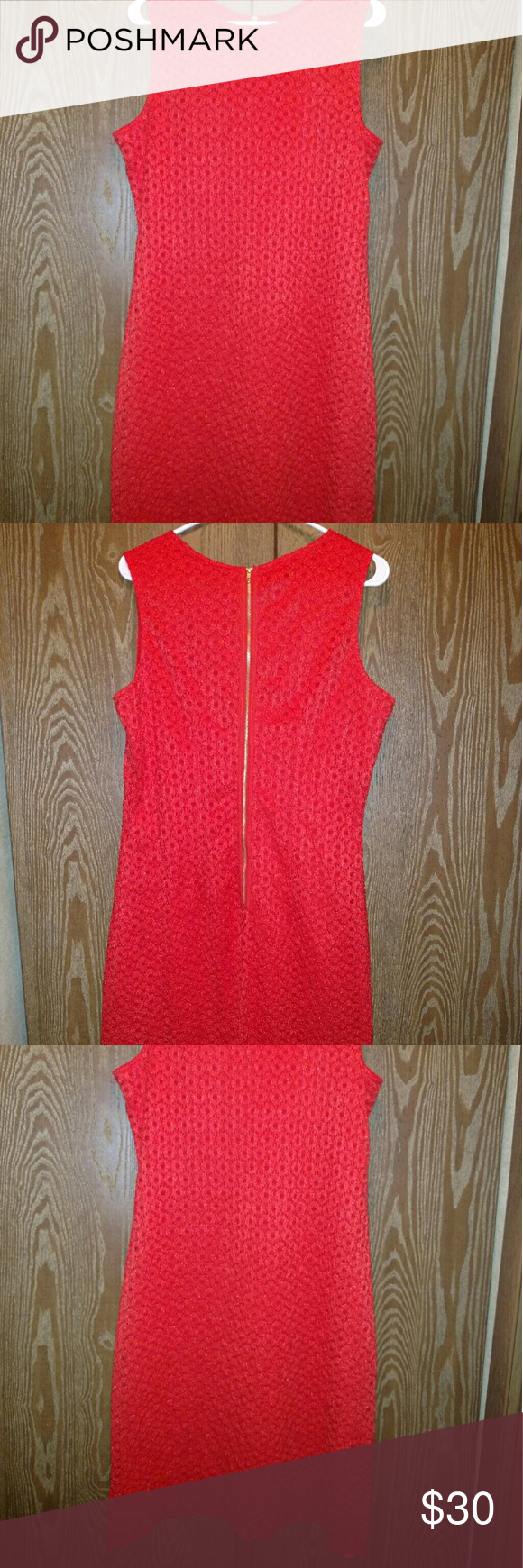 Red Lace-Like Style Dress Only worn once, very comfortable. Feels light to wear for having two layers. The brand name is Sharagano. Sharagano Dresses Midi