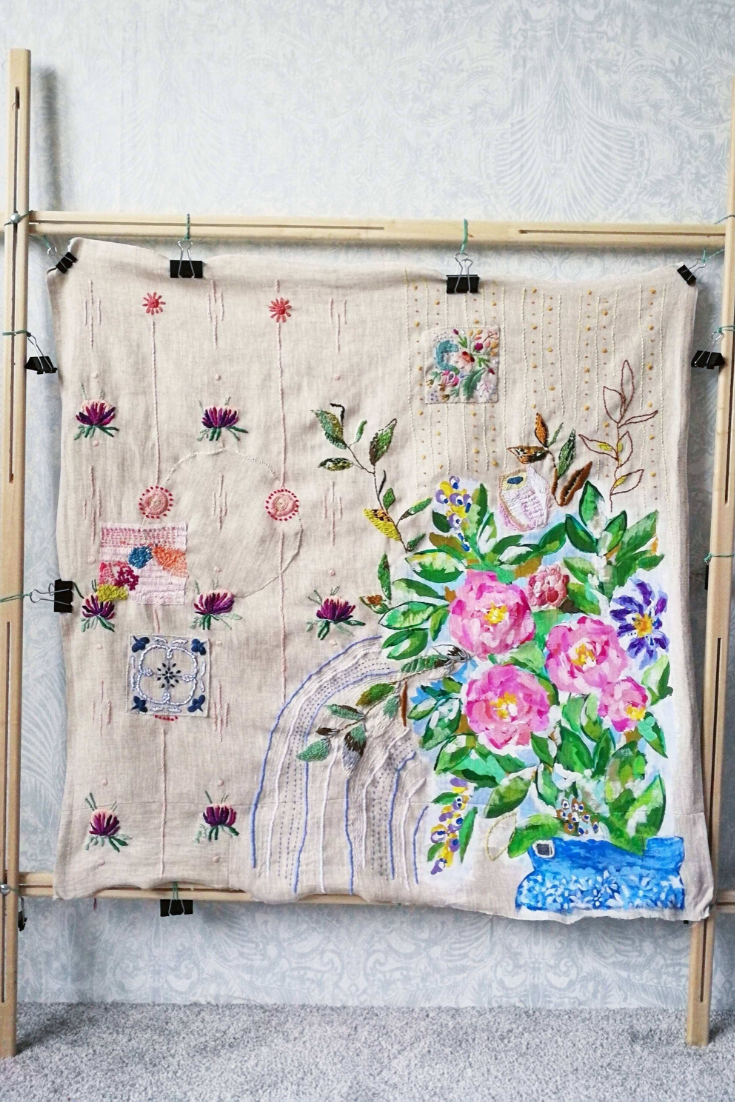 Vase On The Table Wall Hanging Embroidery Wall Art Textile Wall