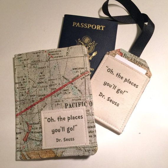 Passport cover world map luggage tag set oh the places youll go passport cover world map luggage tag set oh the places youll go passport case travel gift for graduate gumiabroncs Gallery