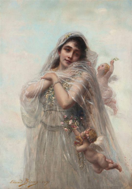Edouard Bisson - Portrait of young lady with cherubs