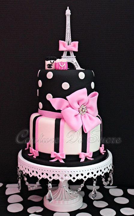 Remarkable Pink Black Stripe And Polka Dot Eiffel Tower Cake Paris Themed Personalised Birthday Cards Beptaeletsinfo