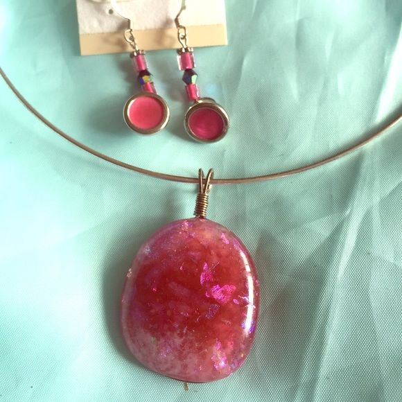 Pink Dichroic Glass Pendant & Button Earrings This set is awesome, necklace is on a formed silver metal with glass focal pendant and pink earrings are hand crafted to match. Great set for a great deal. Earrings are 1.25 inches long. Handmade Jewelry Necklaces