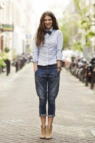 60327b48ab4 Women's Grey Dress Shirt, Navy Boyfriend Jeans, Tan Suede Ankle Boots