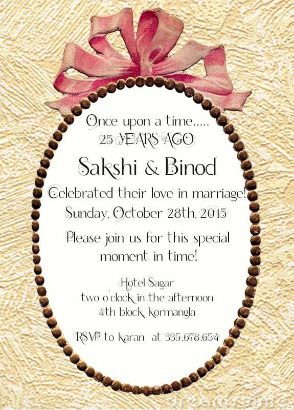 Ribbon Themed 25th Wedding Anniversary Invitation Wordings Wedding Anniversary Invitations Wedding Party Invites Anniversary Invitations