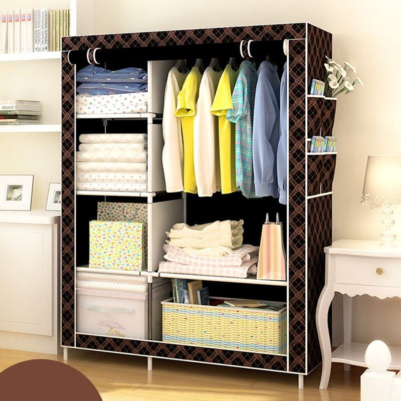 When The Quarter Diy Wardrobe Non Woven Cloth Wardrobe Closet Folding Portable Clothing Stor Wardrobe Closet Storage Closet Furniture Clothes Storage Organizer