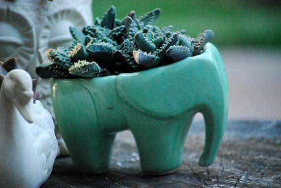 This handmade elephant planter has a charmingly retro vibe. #Etsy
