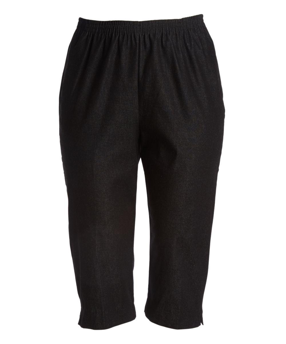 Black Stretch Pull-On Denim Capri Pants - Plus | Products ...