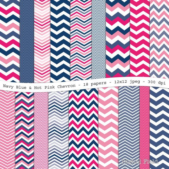 Hot Pink and Navy Blue Chevron digital scrapbooking paper pack ...