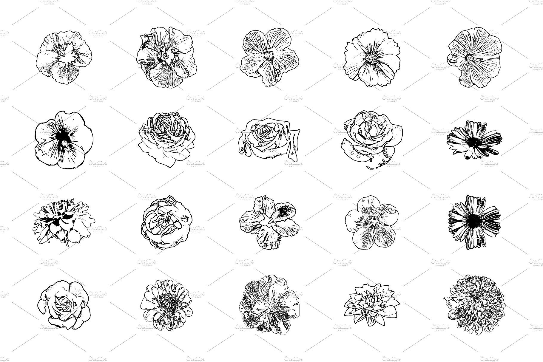 Flower silhouette illustrations Flower silhouette