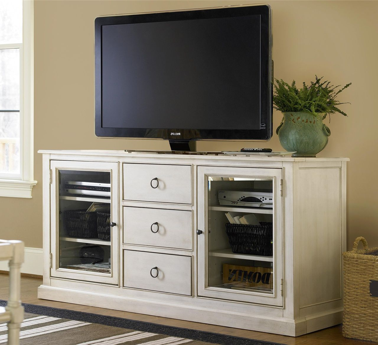country chic maple wood white tv entertainment console family room rh pinterest co uk