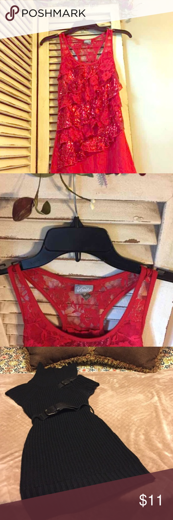 BUNDLE OF TWO! Vanity Top & Derek Heart Dress Sexy & Sophisticated Vanity Tiered Red Lace Top. Excellent Condition w/no signs of fading or wear.No defects. AND Women's or Junior's Size Medium Derek Heart Black Sweater Dress. Size on tag reads Medium, however this dress fits size Small. I would say women's sizes 2-4 would fit this dress perfectly. Excellent used condition with little to no signs of fading or wear. From smoke free, pet free and odor free home. BUNDLE & SAVE! Derek Heart Tops