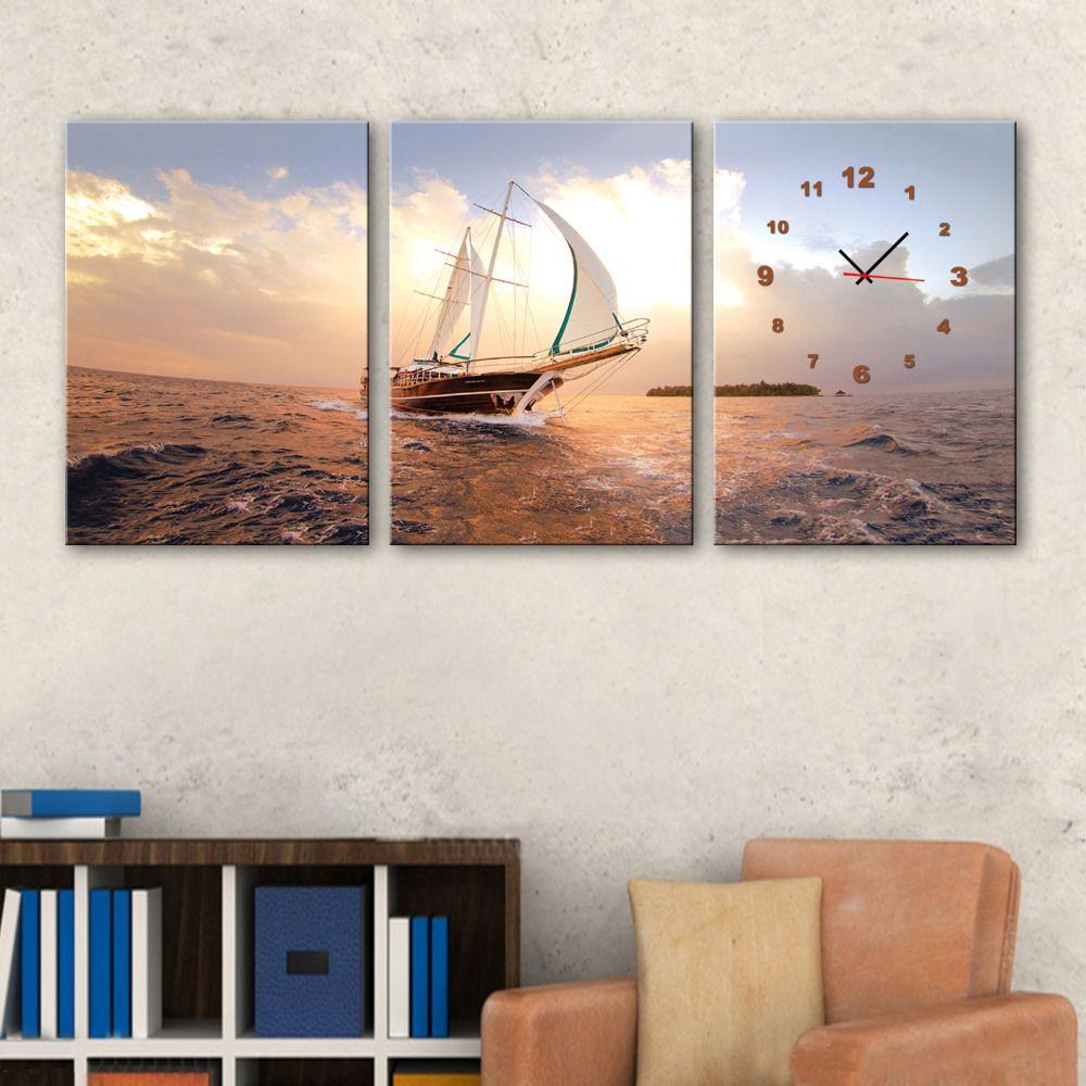 3 Pezzo Senza Cornice Barca Sul Mare Con Moderno Orologio