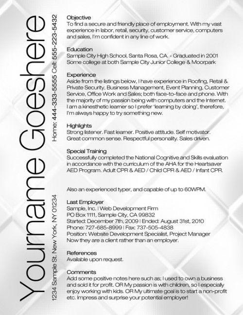 Free Resume Template Design Pinterest Free resume, Job - free resume writer