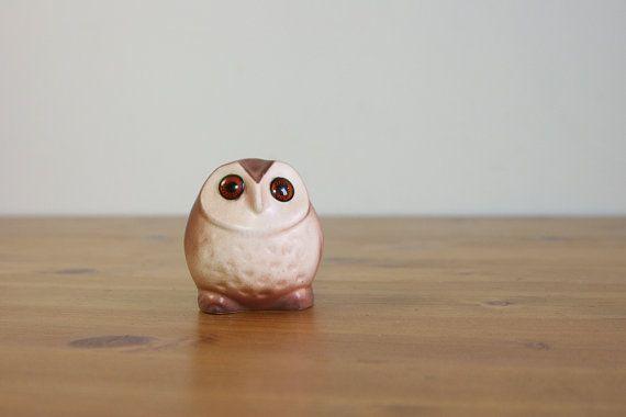 1970s ceramic owl figurine  / 70s owl statue / by dustyrosevintage, $16.00