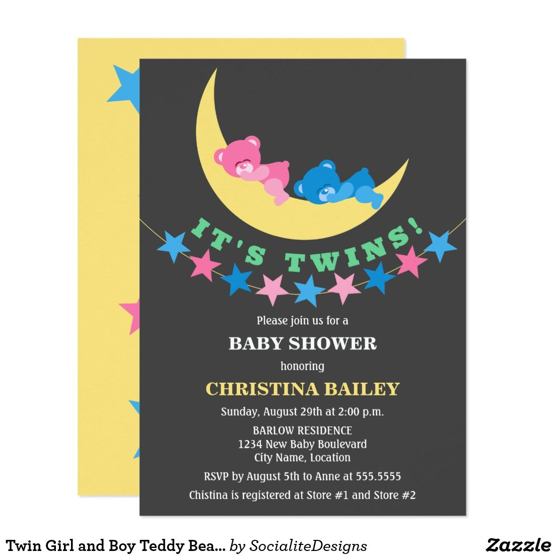 Twin Girl And Boy Teddy Bear Baby Shower Card  Star Banner Teddy