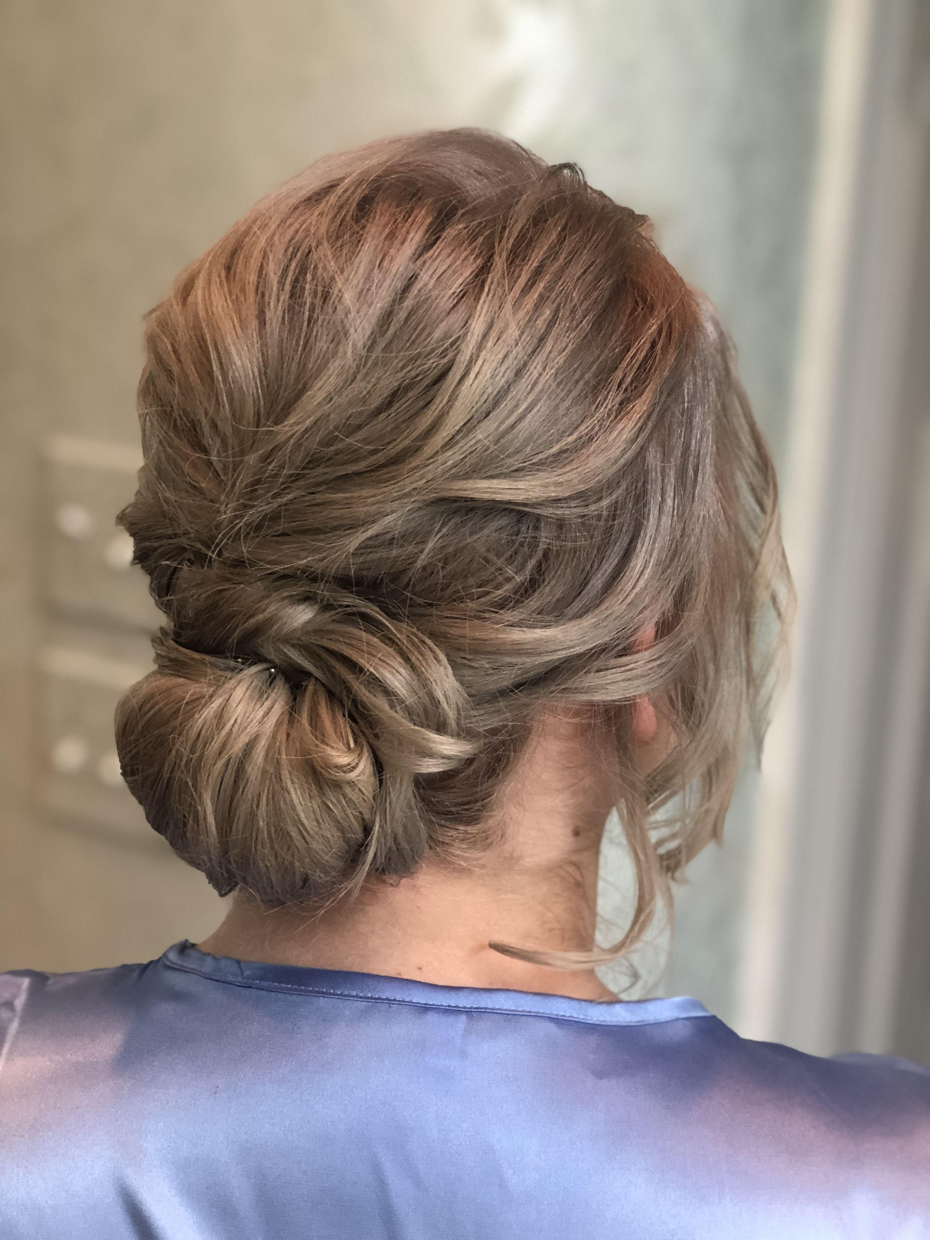 low chignon twisted bun casual updo fine hair updo silver