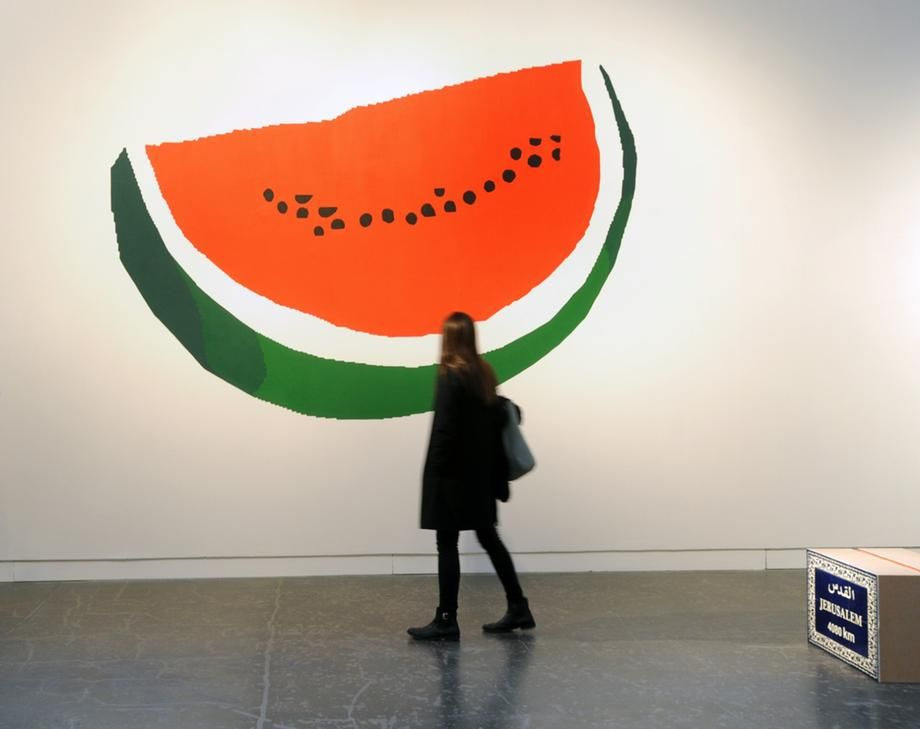 Watermelon   Khaled Hourani's work 'The Colours of the Palestinian Flag', on view at the Centre for Contemporary Arts Glasgow in 2014. Courtesy the artist