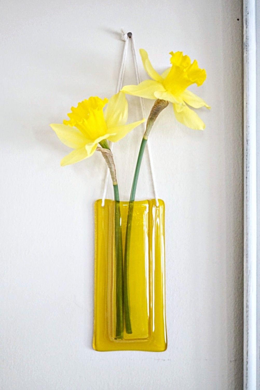 Fused Glass Wall Pocket Vase, Yellow | Yellow | Pinterest | Wall ...