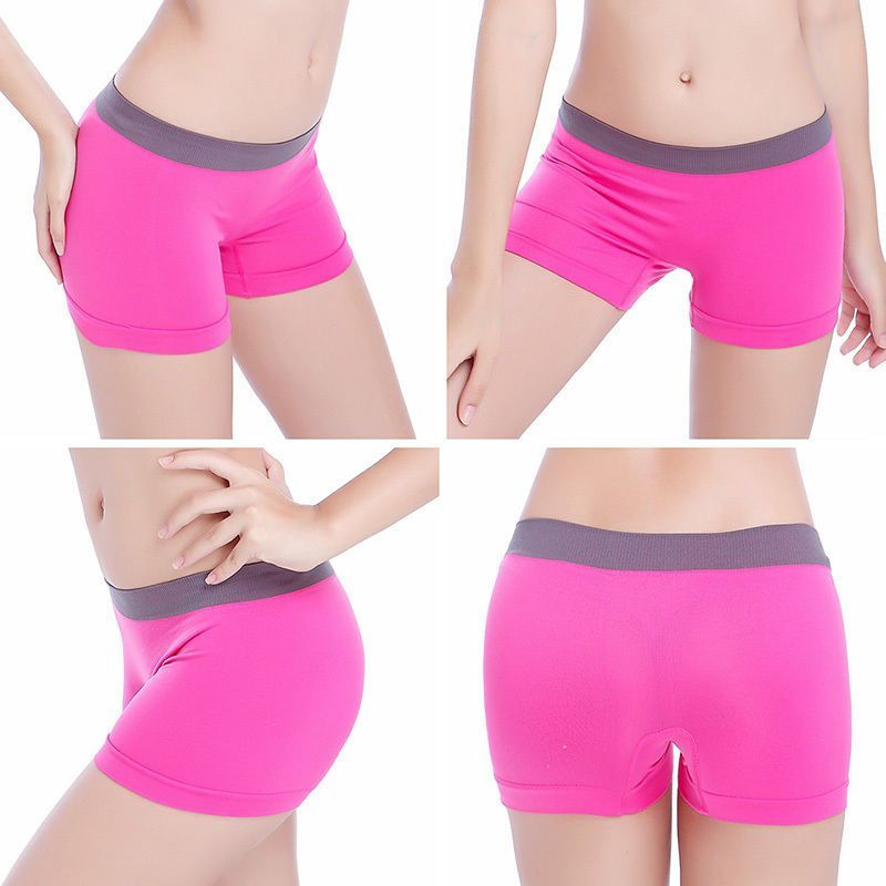 Women Underwear Girls Yoga Training Boxer Shorts Panties